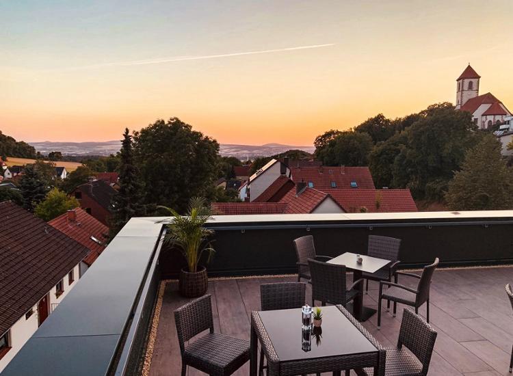 Hotel Beckmann Terrasse mit Blick