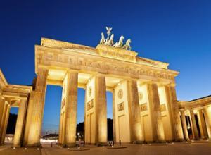 Brandenburger Tor Berlin bei Daemmerung